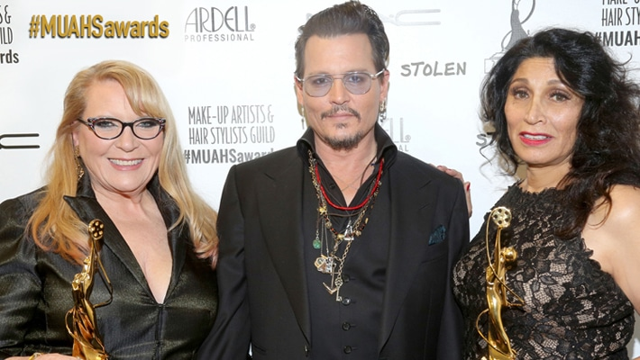 Last years lifetime achievers, Ve Neill and Yolanda Toussieng with Johnny Depp